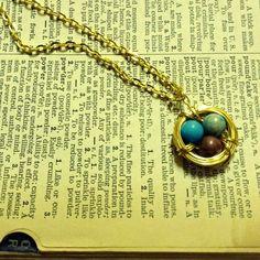 HANDMADE Earth-tone Golden Bird's Nest Necklace ($15)