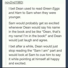 Finally found a supernatural headcanon that doesn't make me want actual death Supernatural Destiel, Castiel, Spiritus, Winchester Boys, Winchester Brothers, Super Natural, Superwholock, The Book, At Least