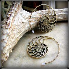 Nautilus Spiral Earrings  Tribal style like by TalismanaDesigns, $42.00