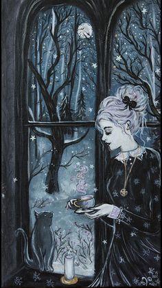 Illustration Moon Imagem of The Cirque des Rêves. Art And Illustration, Fantasy Kunst, Fantasy Art, Ouvrages D'art, Witch Art, Gothic Art, Halloween Art, Dark Art, Oeuvre D'art