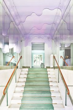 The Stockholm-based firm used a palette of soft pink, peach and turquoise colours that reference Maria Nila's products to transform its headquarters in a four-storey townhouse. Pastel Colour Palette, Pastel Colors, Colours, Pastels, Maria Nila, R Cafe, Light Green Walls, Green Painted Walls, Hair Salon Interior