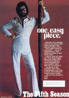 Men's Jump Suits, ( this was worn by at least a dozen guys, all on the same night,at every disco I went to. Fashion Fail, Funny Fashion, 70s Fashion, Vintage Fashion, Fashion Trends, Yacht Fashion, Disco Fashion, Seventies Fashion, Fashion Fashion