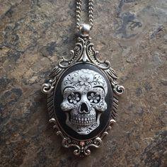 "GoTHiC Day of the Dead SUGAR SKULL Cameo Antq Silver Pendant Necklace w 30"" Chain"