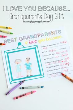 I Love You Because… Grandparents Day Gift with free printable