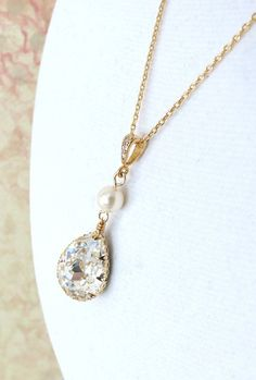 Reine Swarovski Teardrop Crystal Necklace Bridal