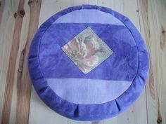 "Meditation Cushion. Zafu. Floor Pillow. Dorm Pillow. In Purple. Buckwheat hull filled. 15""x5"". 6""L. Velcro Closure. Handmade, USA by ZafuChi by ZafuChi on Etsy"