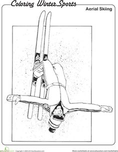 Winter Olympics Kindergarten Sports Worksheets: Aerial Skiing Coloring Page