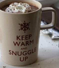 snuggled up & a cup of something hot is my favorite place to be when it's cold outside!