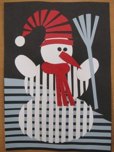 Sněhulák - roláž z barevného kartonu