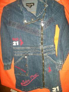 SIZE 8/10 BABY PHAT stretch DENIM L/S DRESS bust 15 L30 front zipper