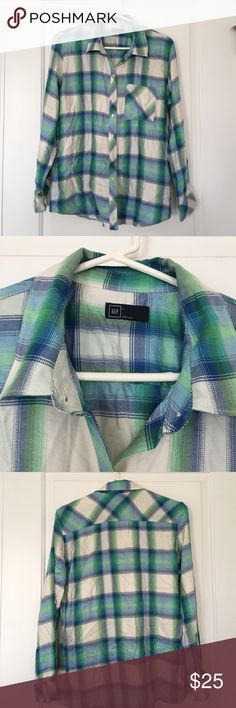 Gap long sleeve button up Gap long sleeve button up. 100% viscose. Pocket on left breast. Blue, green and white plaid. Size L GAP Tops Button Down Shirts