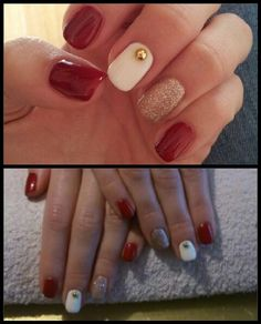 Red and gold, christmas nails