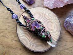 Raw Quartz/ Amethyst Polymer Clay Vine by NicsCreationCorner