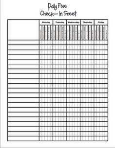 Daily 5 Check In Sheet (instead of the paper chart use the incentive charts and laminate and let students mark my their name with dry erase markers)