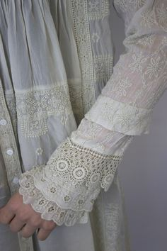 Great way to lengthen sleeves that are too short, add a few layers of different lace trims starting at the 3/4 sleeve spot. Make sure to keep all of the lace the same color as the rest of the piece for the texture to really pop.