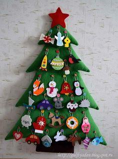 New Ideas Diy Christmas Tree Crafts Advent Calendar Felt Christmas Ornaments, Christmas Sewing, Christmas Crafts For Kids, All Things Christmas, Christmas Fun, Holiday Crafts, Holiday Decor, Felt Decorations, Christmas Decorations