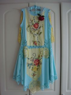 Absolutely Stunning 1920's Style Vintage Battenburg Embroidered Lace Lemon Aqua Green Downton Abbey Cape Dress