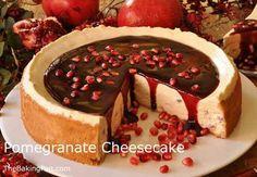Pomegranate Cheesecake. For recipe go to TheBakingPan.com. Enjoy :)