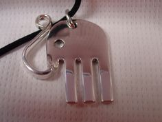 A Spoon Rings Plus Beautiful Fork Elephant Necklace Pendant on a Black Cord or a Thin Chain Handmade Fork Jewelry e6