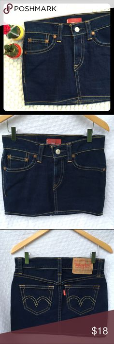 """Levi's vintage denim skirt Levi's Type 1 rugged mini skirt in dark wash denim.  Barely worn and the denim looks like new - Levi's are timeless ❤️ size XS, would best fit a size 2 I think - measurements: approx. 13.5"""" long, 15"""" waist across top, 17"""" hips, has some stretch Levi's Skirts Mini"""