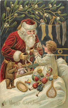 A HAPPY CHRISTMAS  Santa giving a horsetoy to a little boy, boy wearing white pyjamas, mistletoe above