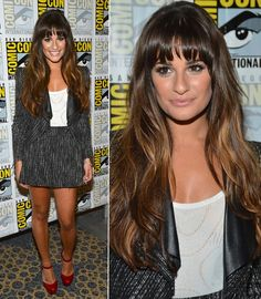 Lea Michele -hair.  I'm itching to cut my bangs again, and I love her look!