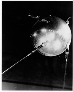 On October 4, 1957, the Soviets successfully launched the world's first artificial satellite, Sputnik 1. It was about the size of a basketball, weighed only 183 pounds, and took about 98 minutes to orbit the earth on its elliptical path.