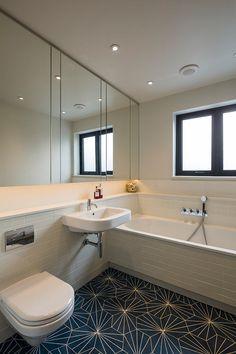 Pretty Cement Tile convention London Scandinavian Bathroom Inspiration with bathroom storage bathroom wall cupboard ceiling speakers cement tiles concealed bathroom lighting contemporary bathroom