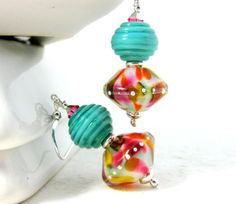 Colorful Glass Dangle Earrings Turquoise Pink by GlassRiverJewelry