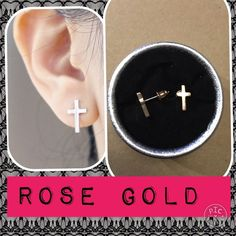 Rose Gold Tone Cross Earrings Rose gold tone. Silver and gold available in other listings. Jewelry Earrings