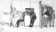 """Here, behind this screen"" from Goldsmith's _She Stoops to Conquer_ (1885) -- Pen and ink over pencil."