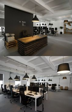 It's awesome open office plan coordinated with real wood reception ideas office design design Open Space Office, Bureau Open Space, Loft Office, Office Plan, Office Space Design, Office Workspace, Office Interior Design, Office Ideas, Small Office