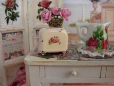 Dollhouse Miniature Shabby Chic Farmhouse Vintage Pink Toaster with Rose Motif. by malinda