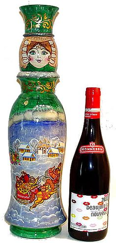 I love these Matryoshka bottle holders. I have one and it looks so lovely! Matryoshka Doll, Bottle Holders, Artist At Work, Vodka Bottle, Mosaic, Folk, Container, Hand Painted, Wine