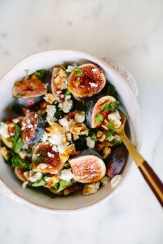 fig, mint, and goat cheese salad – A House in the Hills Fig Recipes, Raw Food Recipes, Salad Recipes, Cooking Recipes, Healthy Recipes, Think Food, Food For Thought, Good Food, Yummy Food