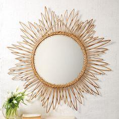 Rattan Daisy Mirror