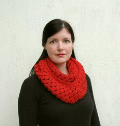 This statement scarf will keep you warm and stylish. It is hand crocheted out of one of my favorite super soft acrylic yarn which Hand Crochet, Hand Knitting, Knit Crochet, Christmas Scarf, Red Christmas, Fun Craft, Red Scarves, Crochet Baby Booties, Beautiful Patterns