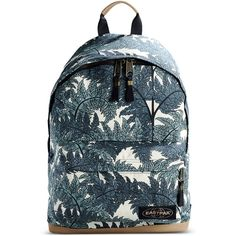 Eastpak Backpack (330 SEK) ❤ liked on Polyvore featuring bags, backpacks, deep jade, leather rucksack, real leather backpack, pattern backpack, blue leather bag and leather bags
