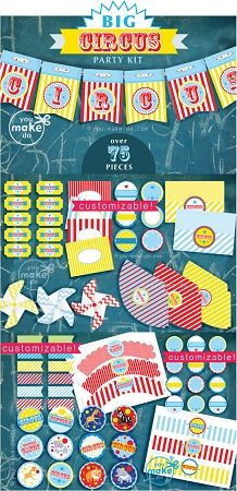 Circus party printables with over 75 pieces to print! Customizable printables included.