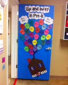 """Our """"Up"""" themed door!! """"Up and away in Pre-k"""" with all of our students names in the balloons! Also with Boy Scout Russell peeking out the window & grandpa Carl in the doorway of his flying house!!"""