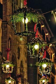 decorated lanterns at christmas