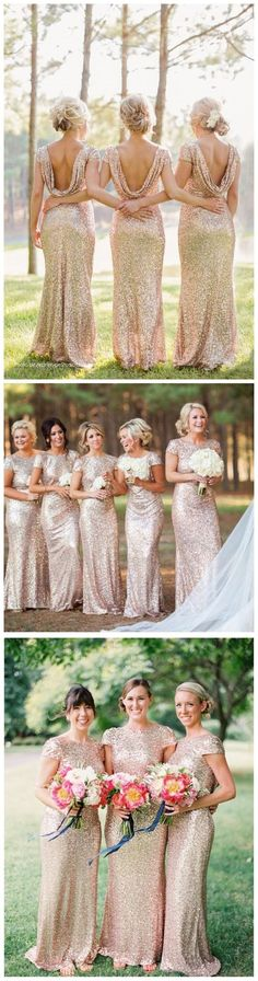 Backless Bridesmaid Dresses Sequined, Long Bridesmaid Dress Modest, Sheath/Column Wedding Party Dresses Scoop Neck  Short Sleeve