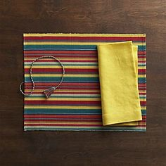 Colorido Multi Placemat and Helena Mustard Linen Napkin
