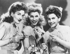 The Andrew Sisters: tight up-beat harmony to Swing musical genre.