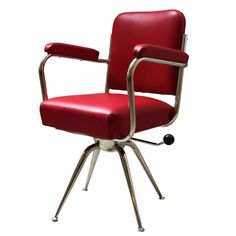 Chrome and Red Leather Desk Chair