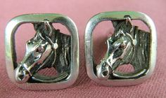Vintage silver tone horse head cufflinks at the Old Grey Mare