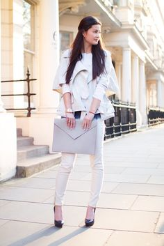 Blogger Peony Lim, photos by Frances Davison    Shoes Miu Miu, Bag from Venice, Jeans and Jumper Zara, and Jacket Alexander Wang (from the last Outnet Clearance Sale)