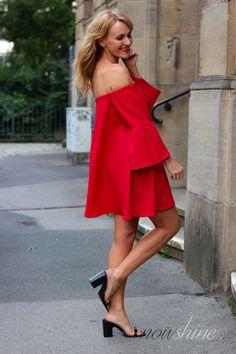 Red Off-Shoulder Dress by Asos, Mango Heels