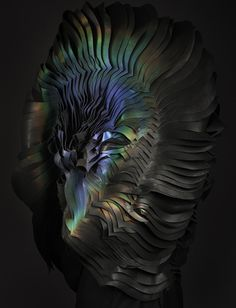 Colour-changing ink transforms flame-engulfed headdress by Lauren Bowker