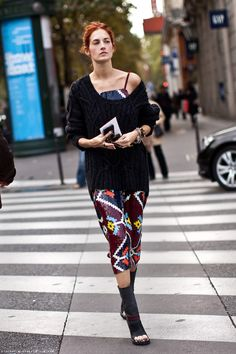 Taylor Tomasi Hill sweater layered over dress
